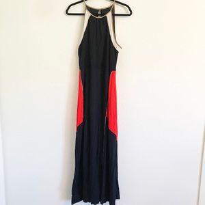 Ann Taylor Maxi dress Size XL Navy Red Brown White
